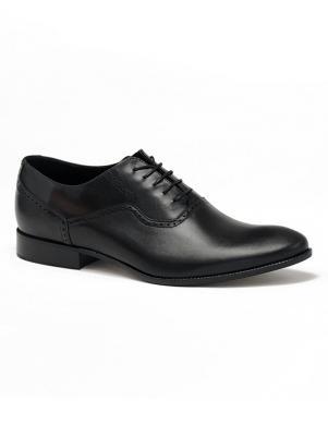 LA CONTE vīriešu melni ādas klasiski apavi
