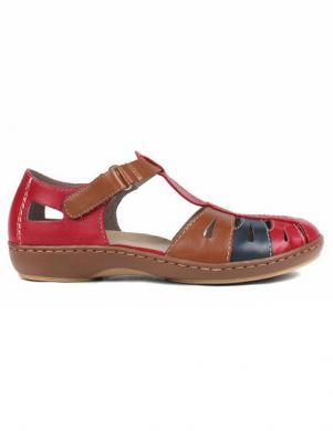 RIEKER sieviešu sarkanas ādas aizdares sandales