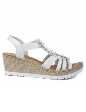 RIEKER sieviešu baltas ādas sandales