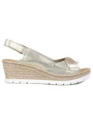 RIEKER sieviešu zelta krāsas ādas sandales