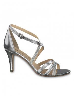 TAMARIS sieviešu sudraba krāsas augstpapēžu sandales HEITI