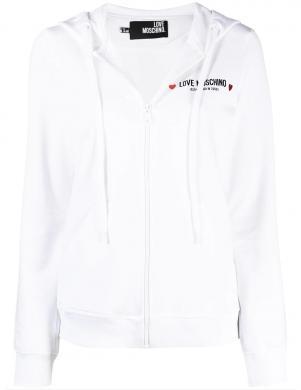 LOVE MOSCHINO sieviešu balts džemperis ar kapuci