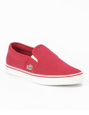 LACOSTE sieviešu sarkani tekstīla ievelkamie apavi