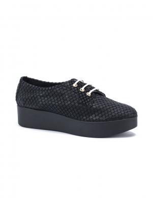 STELLA sieviešu melni ādas stilīgi apavi ar biezu papēdi