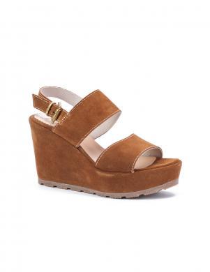 STELLA sieviešu brūnas zamšādas stilīgas sandales ar augstu viengabala papēdi