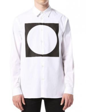DIESEL balts vīriešu krekls ar aplikāciju