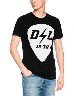 DIESEL melns vīriešu krekls ar aplikāciju