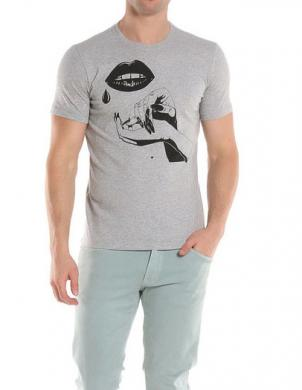 DIESEL pelēks vīriešu krekls ar aplikāciju