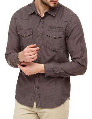 GUESS pelēkas krāsas stilīgs vīriešu kokvilnas krekls