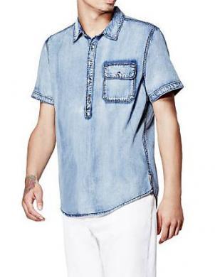 Zili vīriešu kokvilnas krekls GUESS