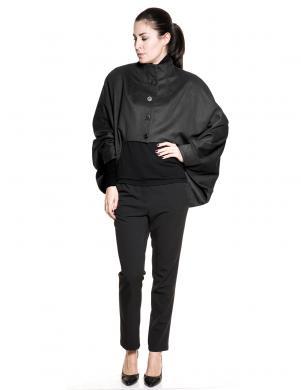 STELLAR stilīgs melnas krāsas sieviešu mētelis