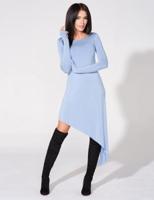 TESSITA šķība griezuma zilas krāsas kleita