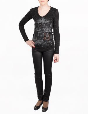 RICHMOND X sieviešu melnas krāsas ar garām piedurknēm blūze