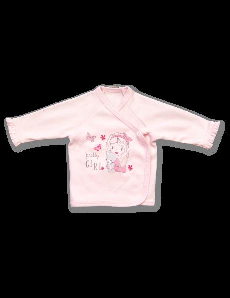 Rozā krāsas kokvilnas bērnu T- krekls Pretty Girl LAFEL