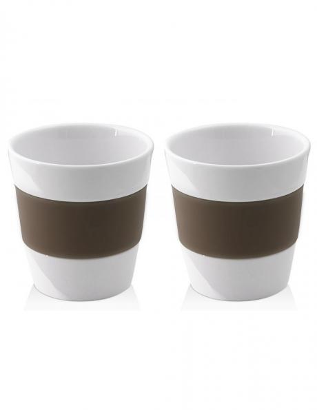 VIALLI DESIGN 2 porcelāna krūzes ar silikona pārklājumu brūnā krāsā LIVIO, 250 ml