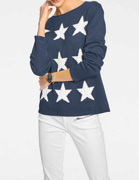 Zils sieviešu džemperis ar zvaigznēm RICK CARDONA