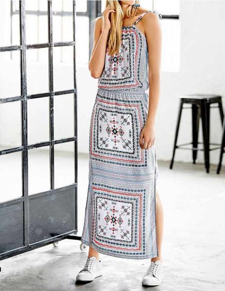 RICK CARDONA gara rakstaina sieviešu kleita