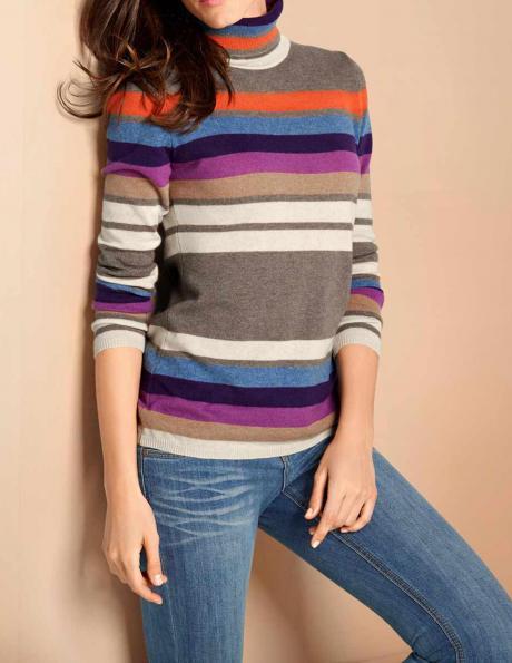 Svītrains kašmira džemperis ar augstu apkakli PATRIZIA DINI