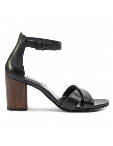 VAGABOND sieviešu melnas ādas augstpapēžu sandales CAROL