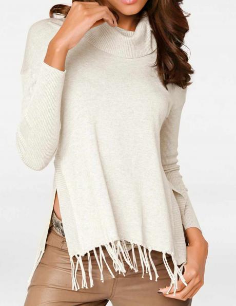 Balts džemperis ar augstu apkakli PATRIZIA DINI