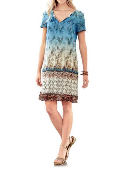 RICK CARDONA krāsaina eleganta sieviešu kleita īsām piedurknēm