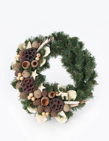 PINUS dekoratīvs egļu zaru vainags, 55 cm