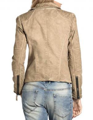 Smilšu krāsas sieviešu īsa jaka MANDARIN