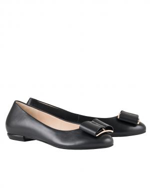 Sieviešu melni balerīnas apavi ar banti HOGL