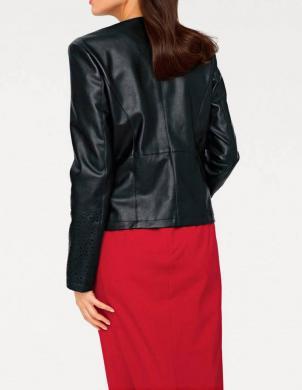 Melna mākslīgas ādas sieviešu jaka PATRIZIA DINI