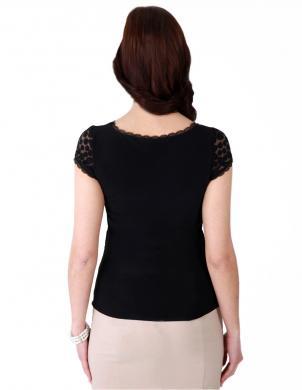 WAXIMA sieviešu melnas krāsas ar īsām piedurknēm blūze