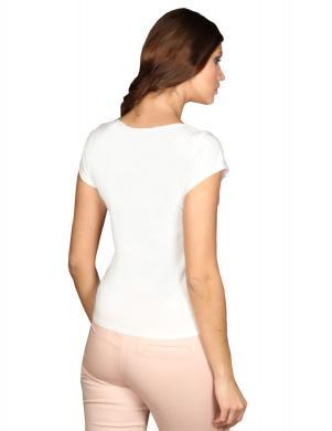 WAXIMA baltas krāsas sieviešu ar īsām piedurknēm blūze