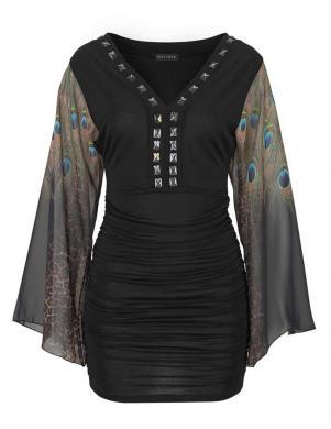 MELROSE skaista melna kleita ar platām krāsainām piedurknēm
