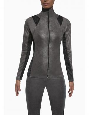 BAS BLACK pelēkas krāsas sieviešu blūze ar garām piedurknēm