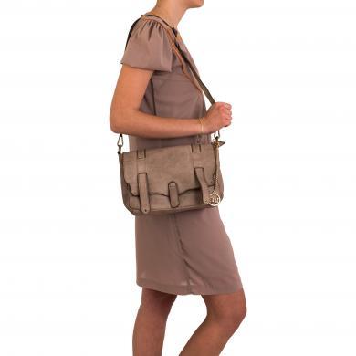 MIA TOMAZZI brūna ādas sieviešu soma