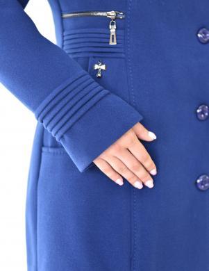 CIRIANA zils vilnas sieviešu mētelis