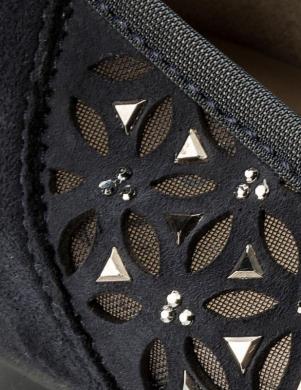Sieviešu zilas balerīnas apavi ar lakotu priekšdaļu ARA