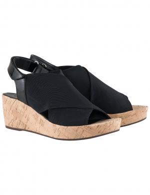 Sieviešu melnas sandales ar viengabala papēdi HOGL