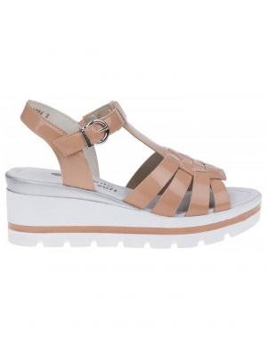 Sieviešu krēmīgas krāsas sandales ar augstu zoli REMONTE