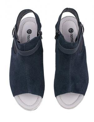 Sieviešu zilas sandales ar augstu zoli REMONTE