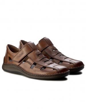 Vīriešu brūnas aizdares sandales RIEKER