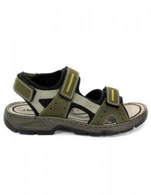 Vīriešu zaļas sandales ar velkro aizdari RIEKER