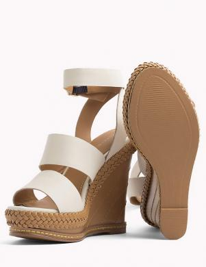 Sieviešu baltas ādas augstpapēžu sandales TOMMY HILFIGER