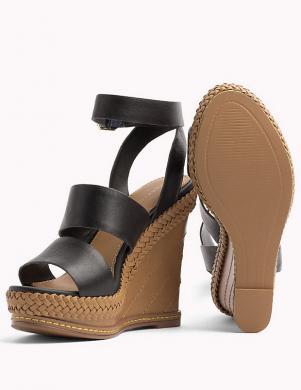 Sieviešu melnas ādas augstpapēžu sandales TOMMY HILFIGER