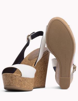 Sieviešu baltas pilnzoles atvērtas sandales TOMMY HILFIGER