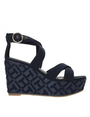 Sieviešu zilas pilnzoles atvērtas sandales TOMMY HILFIGER
