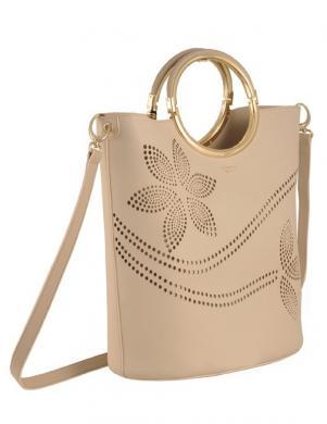 Sieviešu krēmīga soma ar ziedu motīvu TOSCA BLU