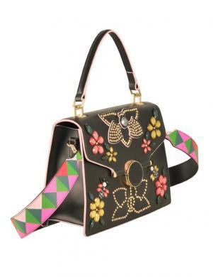 Sieviešu melna ādas soma ar aplikāciju TOSCA BLU