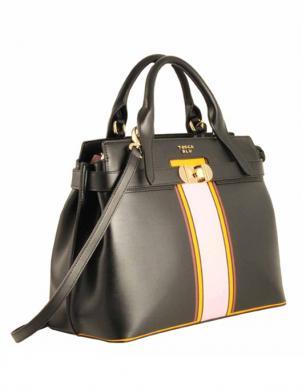 Sieviešu liela melna ādas soma TOSCA BLU