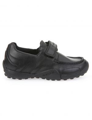Bērnu melni ādas apavi JR W.SNAKE MOCASSINO GEOX