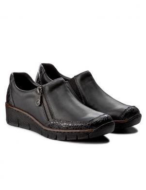 Sieviešu melni apavi ar rāvējslēdzēju RIEKER